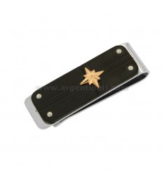 MONEY CLIPS STEEL TRICOLOR 45x15 MM WITH ROSE OF THE WINDS
