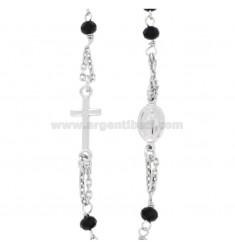 Collar del rosario PASEO A BEBÉ CABLE con piedras de FACETAS MM 25X35 NEGRO plata del rodio 925 ‰ CM 35-39