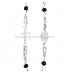 ROSARY NECKLACE A GIRO BABY CABLE WITH STONES FACETS FROM MM 25X35 BLACKS IN SILVER RHODIUM 925 ‰ CM 35-39