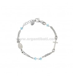 ROSE BRACELET BABY CABLE WITH STONES FACETS FROM MM 25X35 SILVER RHODIUM SILVER 925 ‰ CM 12-15