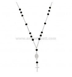 ROSARY NECKLACE BABY CABLE WITH STONES FACETS FROM MM 25X35 BLACKS IN SILVER RHODIUM 925 ‰ CM 35-39