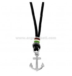 BLACK ROUND NECKLACE WITH ANCHOR AND STEEL ENAMELED CM 50