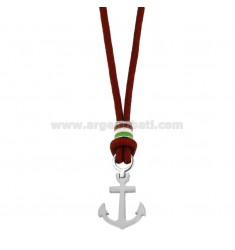 RED ROPE NECKLACE WITH ANCHOR AND STEEL ENAMELED FLAG 50 CM