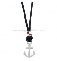 BLUE ROPE NECKLACE WITH ANCHOR AND STEEL ENAMELED FLAG CM 50
