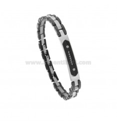 BRACCIALE IMPERNIATO IN STEEL TWO-TONE AND CERAMIC WITH CENTRAL PLATE AND ZIRCONIA CM 21