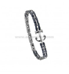 BRACCIALE IMPERNIATO IN STEEL AND CERAMIC BLUE WITH CENTRAL STILL AND ZIRCONIA CM 21