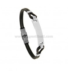 LEATHER BRACELET WITH CENTRAL PLATE IN STEEL 21 CM