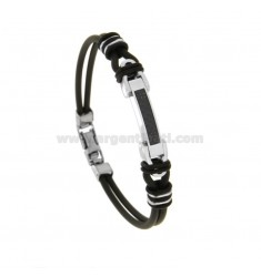 CAUCCIU 'BRACELET WITH CENTRAL PLATE AND CARBON FIBER IN STEEL 21 CM
