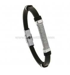 LEATHER BRACELET WITH STEEL PLATE 21 CM