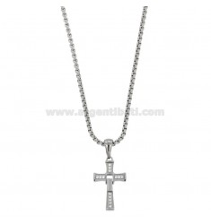 PENDANT CROSS PENDANT WITH ROLO 'CHAIN ??50 CM IN STEEL