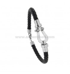 BRACCIALE IN BRAIDED TUBULAR LEATHER WITH CENTRAL HORSESHOE IN STEEL 21 CM