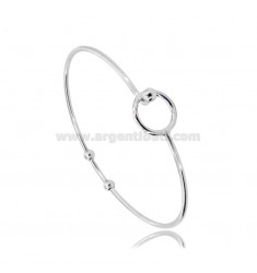 RIGID CIRCLE BRACELET WITH BASE CLOSURE FOR PENDANT IN RHODIUM-PLATED SILVER TIT 925 ‰