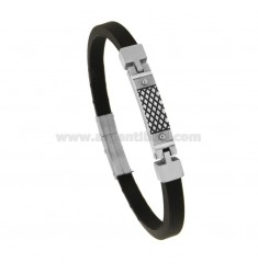 CAUCCIU 'BRACELET WITH CENTRAL PLATE IN STEEL 21 CM