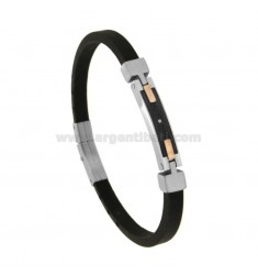 CAUCCIU 'BRACELET WITH CENTRAL STEEL PLATE WITH RUTENIO AND COPPER ELEMENTS CM 21