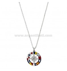 PENDANT ROSE ROSE OF THE WINDS IN STEEL AND ENAMEL WITH VENETIAN CHAIN ??50 CM