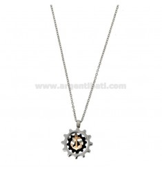 PENDANT STILL IN THE MM 17 GEAR IN STEEL TWO-TONE WITH CHAIN ??CABLE 50 CM