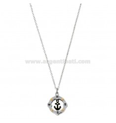 PENDANT STILL IN THE COMPASS MM 15 N THREE-COLORED STEEL AND RHINESTONE WITH CHAIN ??CABLE 50 CM