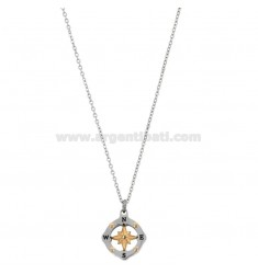 PENDANT ROSE OF THE WINDS IN THE COMPASS MM 15 N TWO-TONE STEEL AND RHINESTONE WITH CHAIN ??CABLE 50 CM
