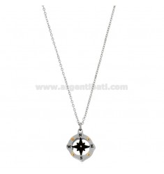 PENDANT ROSE OF THE WINDS IN THE COMPASS MM 15 N TRICOLOR STEEL AND RHINESTONE WITH CHAIN ??CABLE 50 CM
