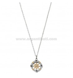 PENDANT RUDDER IN THE COMPASS MM 15 N TWO-TONE STEEL AND RHINESTONE WITH CHAIN ??CABLE 50 CM