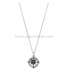 PENDANT RUDDER IN THE COMPASS MM 15 N THREE-COLORED STEEL AND RHINESTONE WITH CHAIN ??CABLE 50 CM