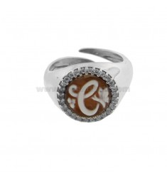 ROUND RING 13 MM WITH LETTER CAMEO AND ZIRCONATED EDGE IN RHODIUM SILVER TIT 925 ‰ ADJUSTABLE SIZE