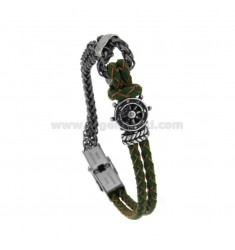 BRACELET IN BRAIDED LEATHER AND SPIGA SWEATER WITH CENTRAL RUDDER STEEL BRUNITO CM 21