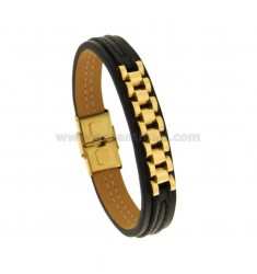 MM 13 BRACELET WITH CENTRAL JUBILE 'JAWS IN GOLDEN STEEL 22 CM