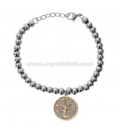 BALL BRACELET IN RHODIUM STEEL AND COPPER WITH PENDANT LIFE TREE