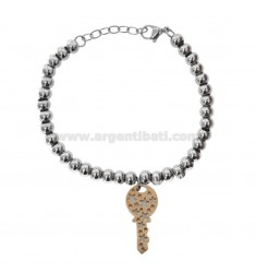 BALL BRACELET IN BRONZE RHODIUM AND COPPER WITH PENDANT KEY