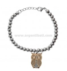 BALL BRACELET IN RHODIUM AND COPPER STEEL WITH PENDANT GUITAR