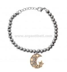 Kugel Armband in Bronze Rhodium und Kupfer mit Mond Anhänger