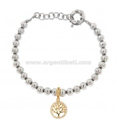 BRACELET BALLS IN BRONZE RHODIUM WITH TREE OF RAMED LIFE WITH ZIRCONIA PENDANT