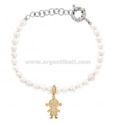 BRACELET OF PEARLS IN BRONZE RHODIUM WITH CHIMNEY GIRL WITH ZIRCONIA PENDANT