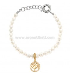 BRACELET OF PEARLS IN BRONZE RHODIUM WITH TREE OF RAMED LIFE WITH ZIRCONIA PENDANT