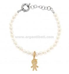 Armband aus Perlen in Bronze Rhodium mit Kamin Kind mit Zirkonia Anhänger