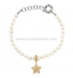 Armband aus Perlen in Bronze Rhodium mit STAR RAMED mit Zirkonia Anhänger