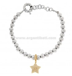 BRACELET BALLS IN BRONZE RHODIUM WITH STAR RAMED WITH ZIRCONIA PENDANT