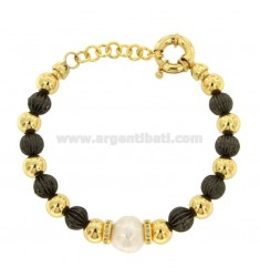 BRACELET WITH GOLDEN BRONZE BALLS AND RUTHENIUM WITH PEARL AND ZIRCONATE WASHERS
