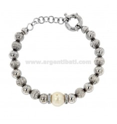 BRACELET WITH BRONZE BALLS IN RHODIUM WITH PEARL AND ZIRCONATE WASHERS