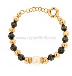 BRACELET WITH BRONZE BRACELET AND RUTHENIO WITH PEARL AND ZIRCONATE WASHERS