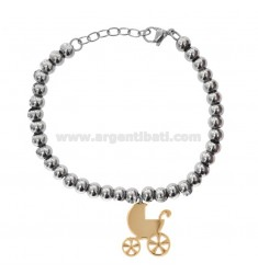 BRACELET WITH STEEL BALLS WITH PENDANT WHEELCHAIR