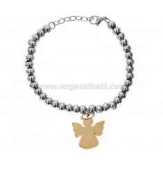 BRACELET WITH STEEL BALLS WITH COPPER ANGEL PENDANT