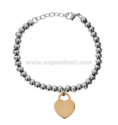 BRACELET WITH STEEL BALLS WITH COPPER HEART PENDANT