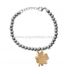 BRACELET WITH BALLS IN STEEL WITH BRANCHED QUATTRIFLIO PENDING