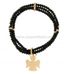 3-WIRE ELASTIC BRACELET OF BLACK AGATE STONES AND ANGEL PENDANT IN BRONZE COPATO AND RHINESTONES