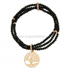 3-WIRE ELASTIC BRACELET OF BLACK AGATE AGATE STONES AND LIFE TREE PENDANT IN BRONZE COPATO AND RHINESTONES