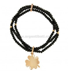 3-WIRE ELASTIC BRACELET OF STONES OF BLACK AGATE FACETED AND QUADRIFOGLIO PENDANT BRACELET OF COPPER AND RHINESTONES