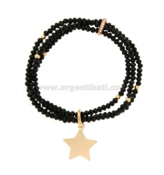 3-WIRE ELASTIC BRACELET OF BLACK AGATE STONES AND STAR PENDANT IN BRONZE COPATO AND RHINESTONES