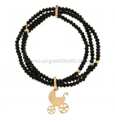 3-WIRE ELASTIC BRACELET OF BLACK AGATE AGED STONES AND WHEELCHAIR BRACELET IN COPPED BRONZE AND RHINESTONES
